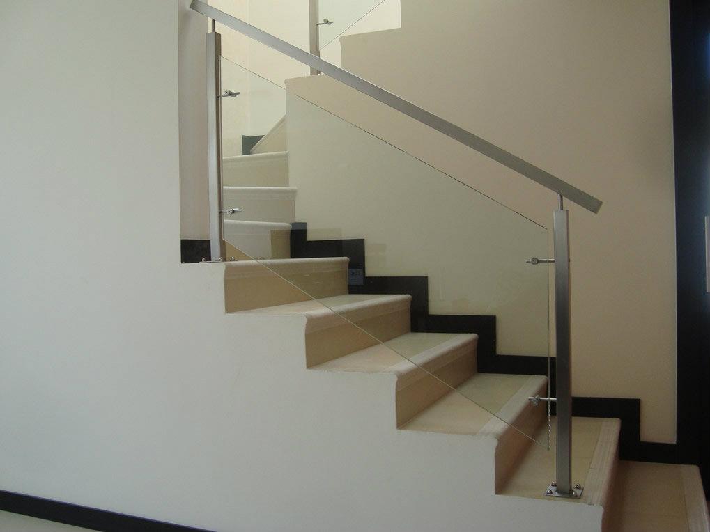 Pasamano tubo cuadrado y vidrio metalmachine - Pasamanos de cristal para escaleras ...